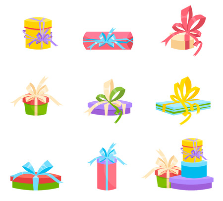 gift icon: Christmas and birthday gift box . Flat design. set of isolated on white background. Illustration
