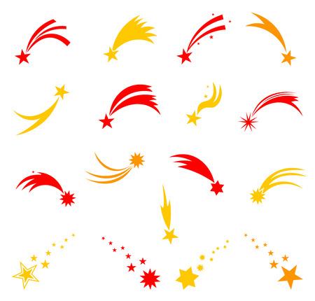 tiro al blanco: Estrellas fugaces. Estrella fugaz del cielo. conjunto de aislados sobre fondo blanco. Vectores