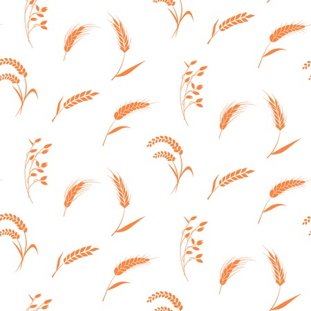 produits céréaliers: drawn bakery background. Whole grain, natural, organic background for bakery package, bread products. Illustration