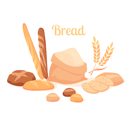 Assortment of breads bread isolated on white background. Illustration