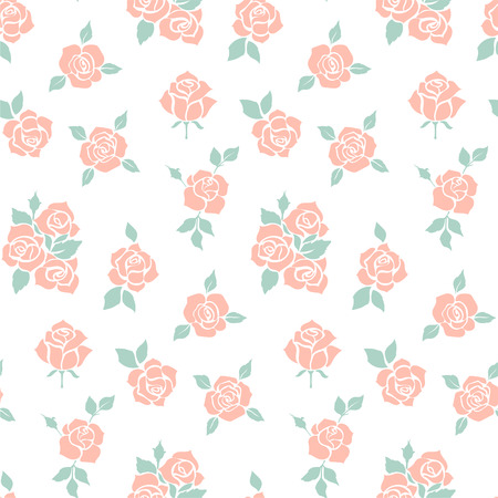 red rose: Vintage Rose Pattern. Ideal for printing onto fabric and paper. Fashionable modern wallpaper or textile collection with red roses isolated on white background.