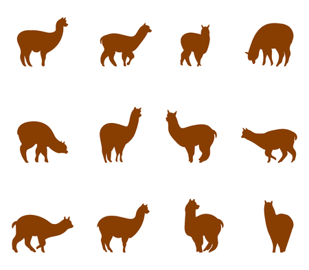 animals collection: Alpaca and llams emblems collection. Silhouettes of animals isolated on white background.
