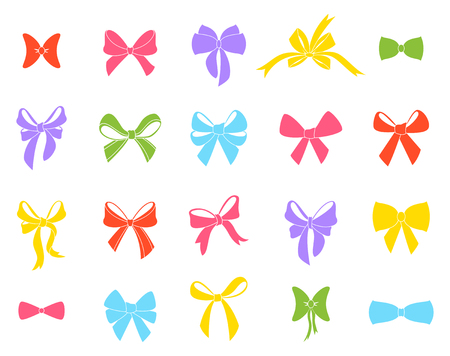 Set of graphical decorative bows. Illustration