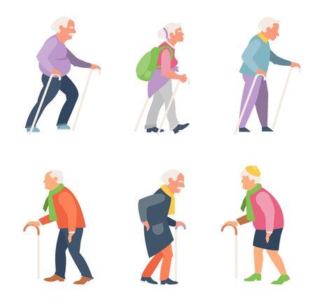 Nordic Walking. Set von älteren Menschen in flachem Stil. Alte Menschen Reisende mit Stöcken.