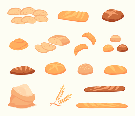 wheat bread: Set of cartoon food: bread - rye, ciabatta, wheat, whole grain , bagel, sliced , french baguette, croissant. Vector illustration, isolated on white.