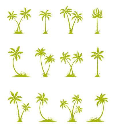plants and trees: Tropical set. Sea island with plants, palm trees, flowers, silhouettes isolated on white background. Illustration