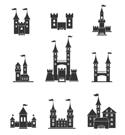 stronghold: Towers and castles icons set. Illustration