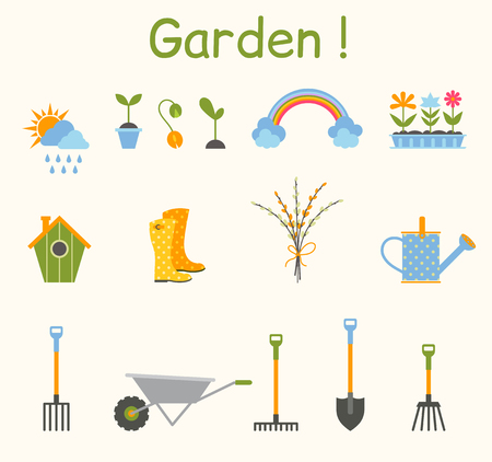 Set of various gardening items. Garden tools. Illustration