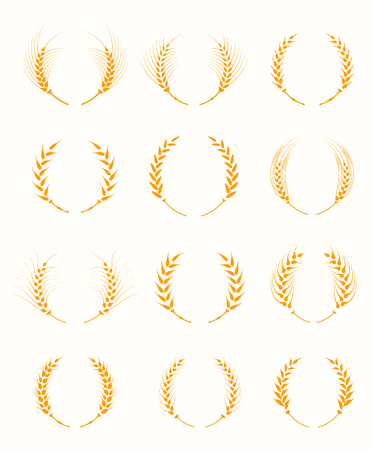 wheat bread: Agricultural symbols isolated on white background. Agriculture grain, organic plant, bread food. Design elements for bread packaging. Set of silhouette circular laurel foliate and wheat wreaths.