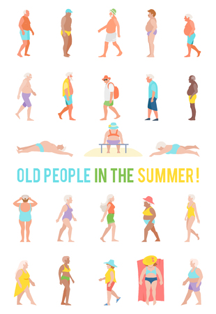People relax and sunbathe on the beach. Illustration