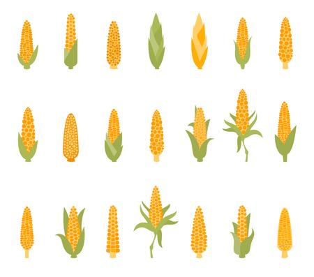 Set van maïs met groene bladeren. Stock Illustratie