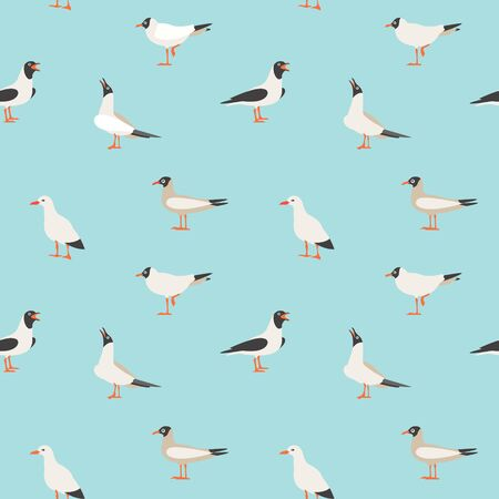 Seamless texture with flying seagulls.