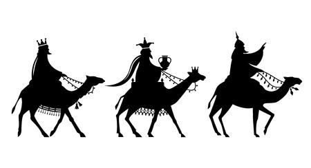 Illustratie van de drie magi op weg naar Jezus. Vector Illustratie