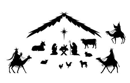 Traditionele kerst scène illustratie. Vector Illustratie