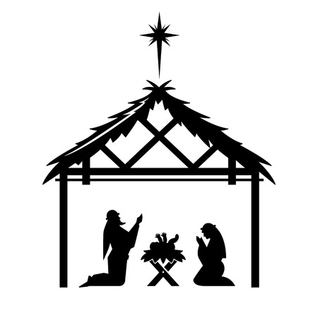 Mary and Joseph pray over the newly born Jesus Christ in the stable.