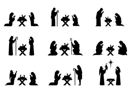 Set van Kerstmis silhouetten. Jezus en Maria bidden op hun knieën in de kribbe.