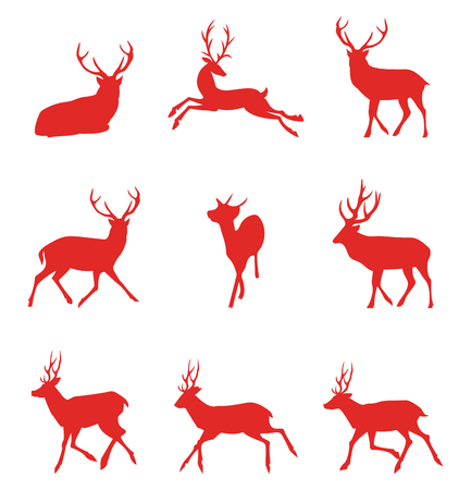 Red silhouettes of deer. Vector illustration isolated on white background.