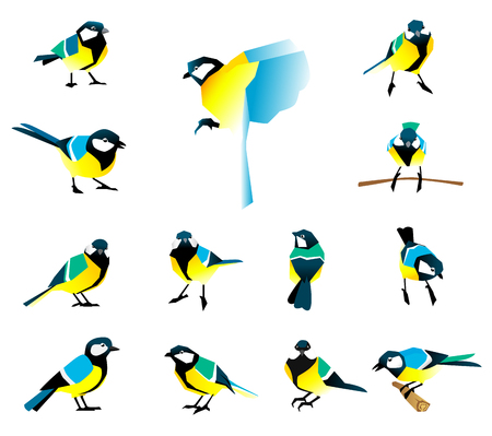 Flat icons of titmouse set. Winter birds in a flat style. Great Tit, Parus major. Illustration