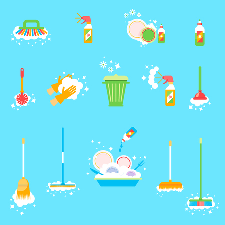 House cleaning. Wipe the windows, wash clothes, vacuum the floor, wash dishes. Washing supplies and housework black symbols. Detergent and soap, glove and sponge illustration.