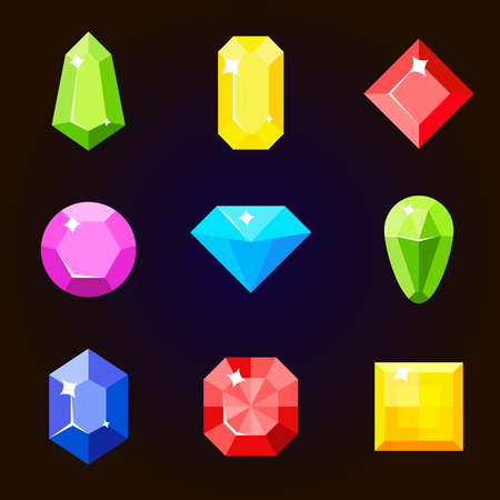 Cartoon vector gems and diamonds set in a flat style in different colors.