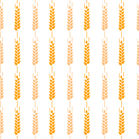 Ear seamless pattern brown color on white background for decoration natural product store, bakery market, organic shop, nature firm, ecology company, garden, farming, forest. Vector Illustration. Ilustrace