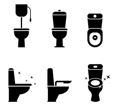 Toilet icons set. Stock Illustratie