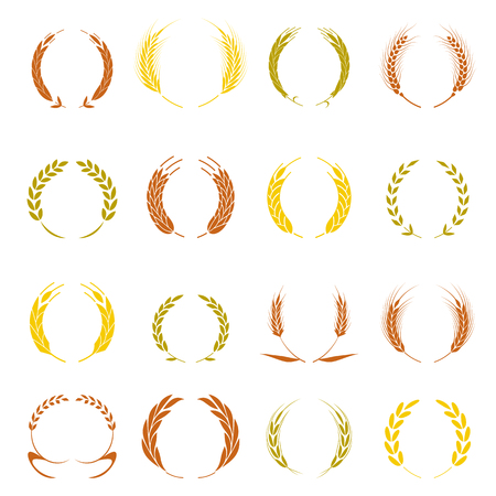 Gold laurel wreath a symbol of the winner. Wheat ears or rice icons set agricultural symbols isolated on white background. Design elements for bread packaging or beer label vector illustration. Иллюстрация