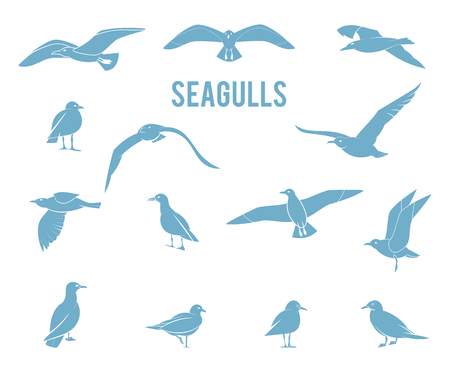 Silhouettes of flying seagulls. Vector Collection of Bird Silhouettes. Illustration
