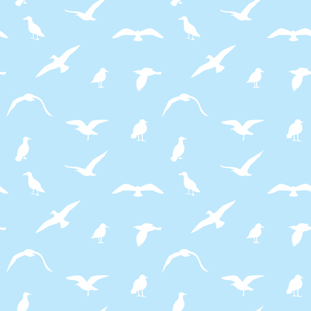 Seamless texture with flying seagulls. Sea seamless pattern. Illustration