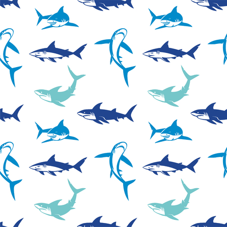 Sharks silhouettes seamless pattern. Elegant seamless pattern with abstract shark symbols, design elements. Can be used for invitations, greeting cards, print, gift wrap, manufacturing. Vettoriali