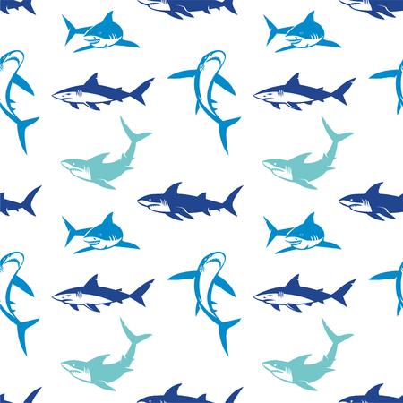 Tiburones siluetas de patrones sin fisuras. Elegante diseño inconsútil con símbolos abstractos de tiburón, elementos de diseño. Se puede utilizar para invitaciones, tarjetas de felicitación, impresión, papel de regalo, fabricación.