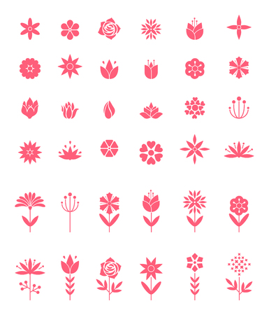 Set of flat icon flower icons in silhouette isolated on white. Cute retro design in bright colors for stickers, labels, tags, gift wrapping paper. Çizim