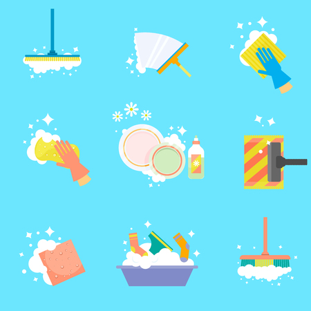House cleaning. Wipe the windows, wash clothes, vacuum the floor, wash dishes. Vector icons in a flat style isolated on a white background. Illustration