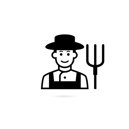 Farmer with pitchfork in hand. Vector icon isolated on white background.