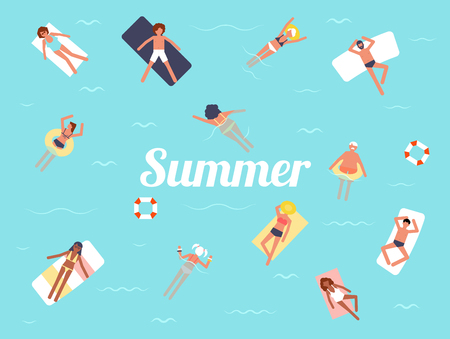 Summer swimming pool season background people character vector illustration flat design. Tropical beach poster.