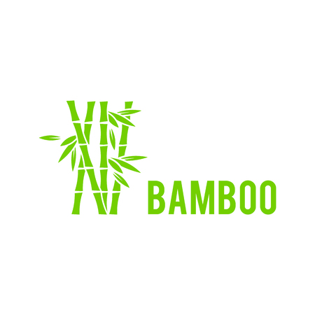 Bamboo tree icon on white background. Bamboo stalks and leaves vector icons. Stick bamboo with foliage, curve frame bamboo illustration.