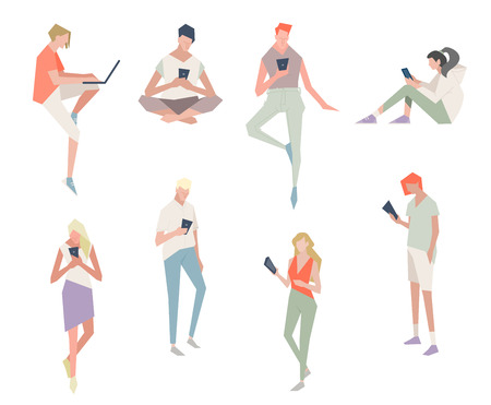 Street style people with gadgets. Vector illustration of communication via the Internet, social networking,chat, messages,web site, search friends, mobile web graphics. People who watch cell phones.