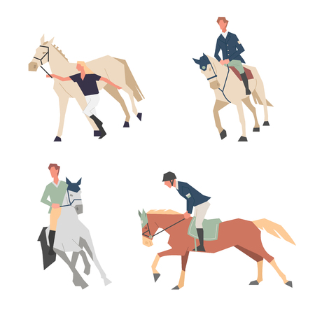 Horse riding lessons. Family equestrian sport training horseback ride. Vector illustration in a flat style.