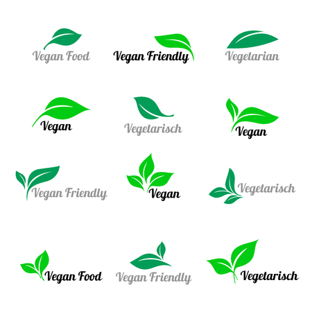 Green abstract leaf icons natural set on white background. Various shapes of green leaves of trees and plants. Elements for eco and bio logos. Icon for vegan food. Иллюстрация