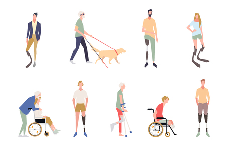 People with disabilities in the style of vector illustrations. Invalid people, a blind man, a broken leg, people on wheelchairs, dentures and legs. People after amputation on prostheses. Paralympics.