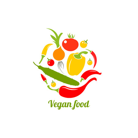 Icon of vegetables. Logo design vector template. Vegan food icon. Circle shape Isolated on white. Иллюстрация