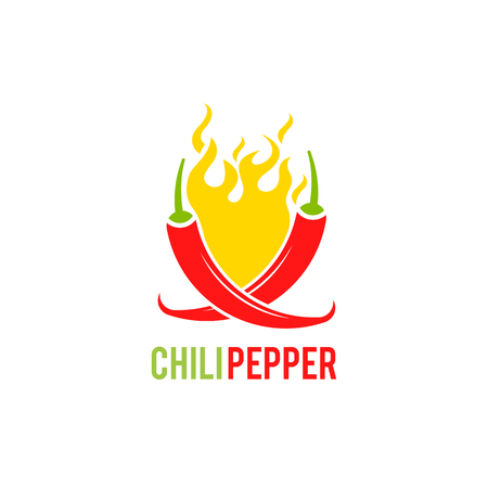 Red pepper. Chili pepper. Vector illustration. Mexico icon of red hot chili pepper on fire flame for Mexican restaurant sign.