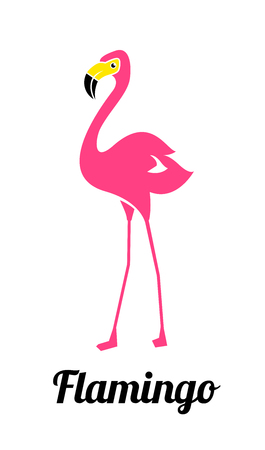 Pink flamingo on a white background. Pink Flamingo Logo Template. Bird Vector Design. Иллюстрация