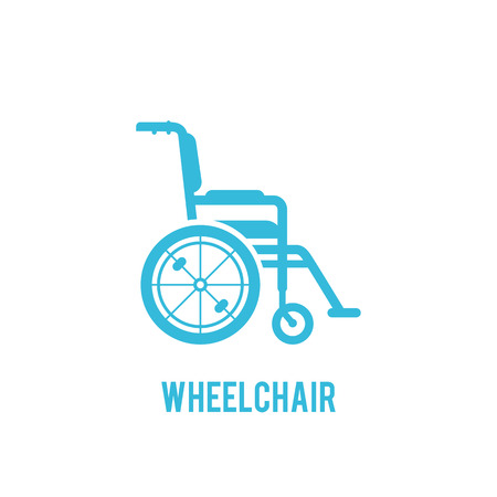Wheelchair in the hospital vector flat material design object.