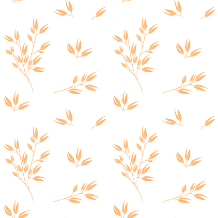 Oat pattern vector. Cereal plants, agriculture industry organic crop products for oat groats flakes, oatmeal packaging design.