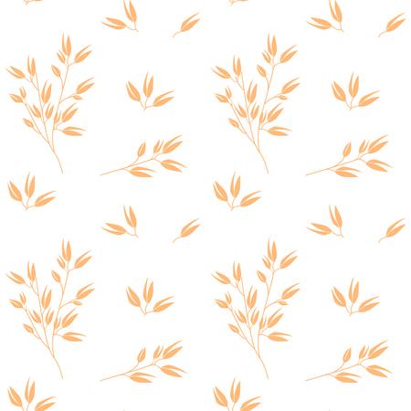 Vecteur de motif d'avoine. Plantes céréalières, produits agricoles biologiques de l'industrie agricole pour les flocons de gruau d'avoine, conception d'emballages de farine d'avoine.