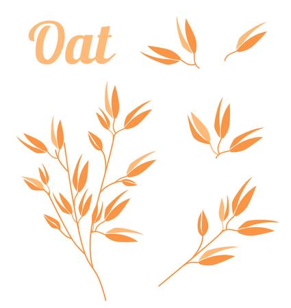 Plantes céréalières, produits végétaux biologiques de l'industrie agricole pour flocons de gruau d'avoine, conception d'emballages d'avoine. Icônes vectorielles isolés sur fond blanc.