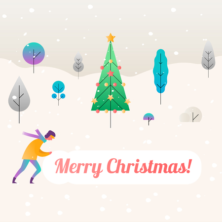 Fantastic christmas background with trees template vector illustration flat design.
