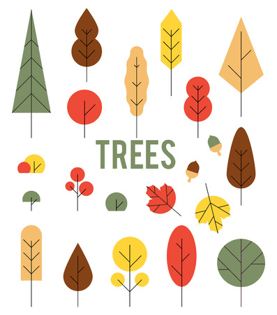 Autumn colorful trees. Set of icons in a flat style isolated on white background.