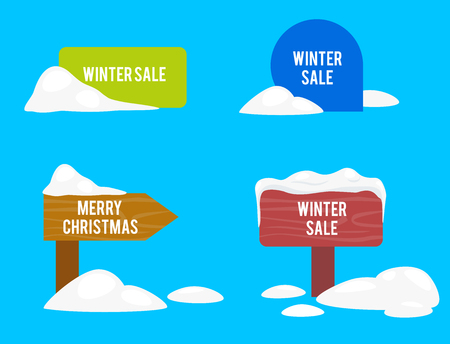 Vector cartoon realistic white, winter empty banner templates wit snow caps, icicles set. Christmas, new year holidays design element. Road sign with snowdrifts. Иллюстрация